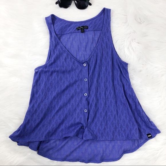 9c9ef7aad8 Vans purple high low crop button tank top. M 5ac267b205f43050a9039082